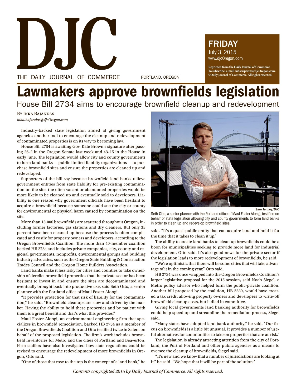 2015.07.03 OR DJC Seth & Brownfield Legislation