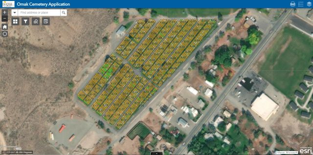 Screenshot of a cemetery web application showing an areal view of different plots at Omak Cemetery.